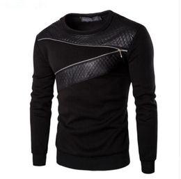 Wholesale Men Leather Sweatshirts - Plus Size 5Xl Leather Patchwork Hoodies Men Zipper Decoration Sweatshirt Men Casual Coat Fashion Men'S Clothes Hoodie