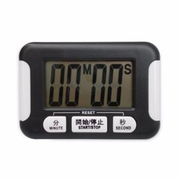 Wholesale Large Digital Lcd Clock - Digital Timer Alarm Clock Practical Kitchen Cooking Backing Timer Electronic With LCD Large Screen Plastic Countdown Black