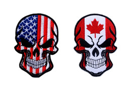 Wholesale Wholesale Embroidered Jackets - VP-230-1 Hot Halloween Skull patches embroidered tactical patches with magic stick US Flag Armband Army patch jacket cap morale patch