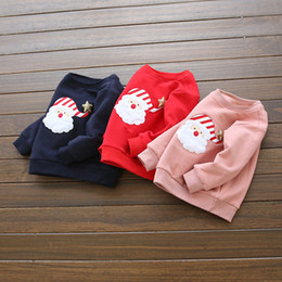 Wholesale Cashmere Baby Sweater - Wholesale- Girls cashmere sweater Santa Claus print Five star point Sweatshirts Fashion Winter children baby shirt Thickening Sweatshirts