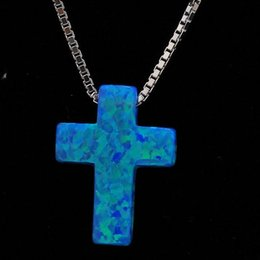 Wholesale Rhodium Plated Cross - Wholesale Cross Opal 925 Sterling Silver Necklace Blue Color 5 pcs a lot Rhodium Plated for Women