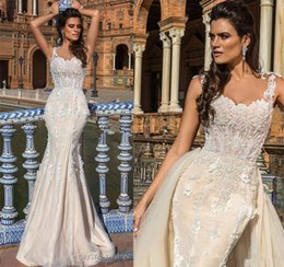 Wholesale Sweetheart Fit Flare Gowns - Datchable Overskit Mermaid Wedding Dresses 2017 Crystal Design Bridal Sheer Jewel Neckline Fit and Flare Sheer Back Garden Wedding Gown