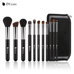 Wholesale Copper Brushes - Ducare New Professional Makeup Brush Set 11pcs High Quality Makeup Tools Kit With Top Leather Bag Copper Ferrule