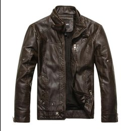Wholesale Leather Jacket For Large Men - Fall-The new European size large size men's leather jacket M brand motorcycle biker bomber jackets for men