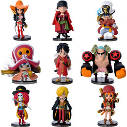 Wholesale One Piece Figure Set Sanji - Anime Cartoon One Piece Film Z Luffy Zoro Sanji Franky Q Version PVC Action Figure Toys Dolls 9pcs set free shipping in stock