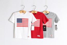 camisetas al por mayor de ee. Rebajas Venta al por mayor Baby Boy Girl American USA Flag Blanco Rojo Gris Camisetas gráficas 100% Algodón Polo de manga corta Características Diseño patriótico