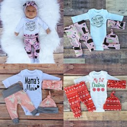 Wholesale Hats Headbands For Kids - Christmas My 1st Birthday Outfits For Baby Boy Girl Set Clothing Cotton Kids Wear 4PC Suit Headbands+Hat+Bodysuit+Pant Tracksuit Clothes