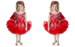 Wholesale Toddler Long Tutu Skirts - Warm Red 3 4 Long Sleeve Organza Mini Skirts Ruffled Tutu Little Girl Cupcake Crystals Rhinestones Organza Little Girls Pageant Dresses