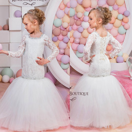 Wholesale Girl Dress Modest - 2016 New Mermaid Lace Flower Girls Dresses Long Sleeves Jewel Beads Floor Length Modest Girls Pageant First Communion Dress For Child Teens