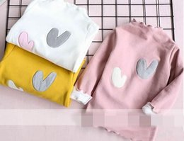 Wholesale High Collar Shop - 2017 Winter Girls T-shirts High collar Love Thicked cotton long sleeve T-shirts Children Clothing free shopping