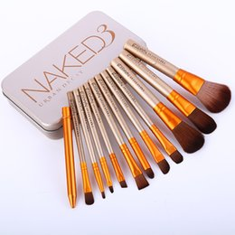 Wholesale Cosmetic Tins Wholesale - HOT SALE New arrival 12pcs set NAKED3 BRUSH SET Softbale Synthetic Hair professional cosmetic makeup brushes with Tin Box