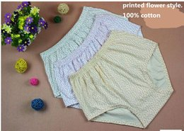 Wholesale Color Dot Flower - Middle Waist Pure Color or Printed Flower 100% Purified Cotton Extra Large Size:XL-4XL Lady's briefs Women's Underwear Triangle Panties