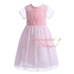 Wholesale Cheap Lolita Dresses - Hot Selling Pink Lace Princess Dress for Girls Summer Sleeveless Girls Dress Cheap Children Dress Free Shipping CMGD90123-036