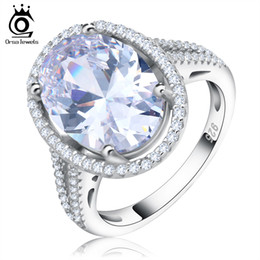 Wholesale Cz Diamond Wholesale - Luxury 6 ct Big Oval Cut Simulated Diamond Zircon Ring with Micro Paved CZ Ring for Women OR98