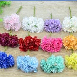 Wholesale Cheap Fake Flowers For Weddings - 6pcs lot Cheap Mini Silk Rose Artificial Silk Flowers Bouquet Wedding Decoration For DIY Scrapbooking Fake corsage Daisy Flower