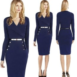 Wholesale Long Sleeved Dresses Cheap - 2017 New Design Cheap Dresses fashion hot new DH Europe women dress long-sleeved dress Ladies OL Dresses with Free sashes FS0895