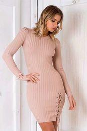 2017090309 À lacets maigres chandail tricoté robe femme Élégant split pull en tricot hiver robe 2017 automne pull vintage pull ? partir de fabricateur