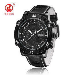 Wholesale mens digital watch leather band - OHSEN Luxury Leather Band Digital Quartz Mens Business Wristwatch Orologio Uomo LCD Fashion Waterproof Male Hombre Mens Watches Clocks Gifts