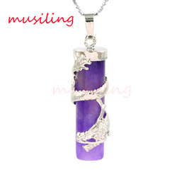 Wholesale Red Dragon Jewelry - Pendants Pendulum Silver Plated Natural Dragon Post Amethyst Opal etc Natural Stone Accessories European Fashion Jewelry