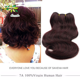 Wholesale Cheap Red Hair Extensions - 7a Unprocessed Short Fashion Brazilian Body Wave 8 Inch 99j Red Hair Extensions Human Hair Weaves 6 Pcs 300g Cheap Burgundy Brazilian Hair
