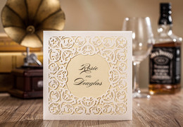 Wholesale Champagne Ivory Wedding Invitations - Champagne inner Ivory Elegant laser cut wedding invitations cards hollow personalized Engagement invitation card with envelope