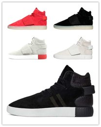 "Wholesale Lace Strap Shoes - [With Box] Original Kanye West 750 Boost High Tubular Invader Strap""core black vintage white"" Mens Sports Running Shoes Sneakers Women 36-44"