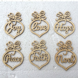 Wholesale Personalized Wedding Set - 6PCS set Wooden Christmas Ornaments Personalized Laser Hollow-out Wood Slice Christmas Ornament Rustic Wedding Festival Party Decorations