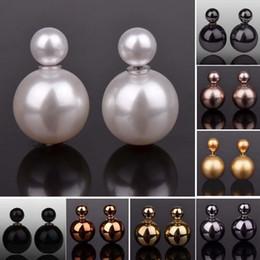 Мода серьги пункт ювелирные изделия Brincos круглый блестящий двойной шар серьги большой жемчуг серьги для женщин горячий продавать от