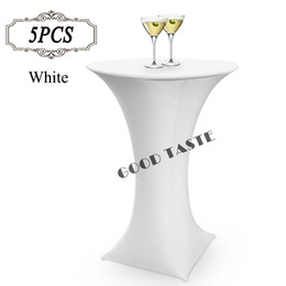 Wholesale Wholesale Spandex Cocktail Table Covers - 5PC Lot 2016 Bar Cocktail Fitted Table Cover Spandex White Round Based Stretch Bistros Table Covers of Wedding Banquet Party 80X110cm