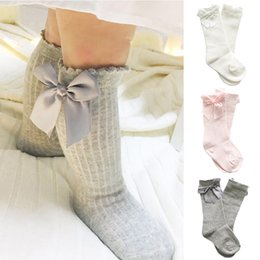 Wholesale Kid Girl Tube - baby girl socks meias infantil Knee High Bows Princess Socks cute Baby Socks Long Tube Booties Vertical Striped sokken Kids Sock