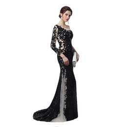 Wholesale Unique Custom - Unique Design Sheer Illusion Mermaid Evening Dresses 2018 Nude Black Sequines Applique One Long Sleeves Celebrity Prom Gowns