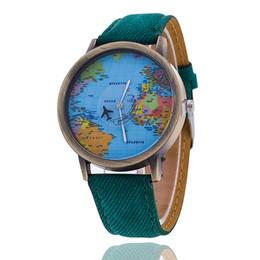 Assistir mapas de design on-line-Moda por atacado O vestido de avião de estilo O avião de design de segunda mão mapa dial relógios relógios de metal