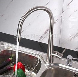 Wholesale Single Lever Mixer Kitchen Faucet - Wholesale- Wholesale And Retail Luxury Brushed Nickle Pull Out Spray One Hole Single Lever Kitchen Mixer Faucet