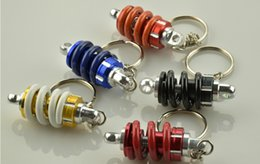Wholesale Motorcycle Ornaments - Super good quality Metal Key Chain Motorcycle Turbine Bag Car Ornaments Car Auto Tuning Parts Shock Absorber Keychain