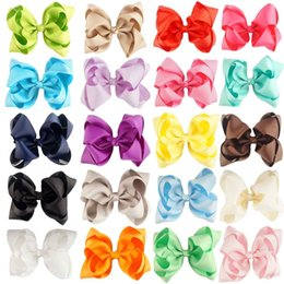 Wholesale Kids Boutique Wholesale - 4 Inch Double Stacked Hair Bow Solid Ribbon for Kids Girls Baby Boutique Hair Accessories with Clip Headwear