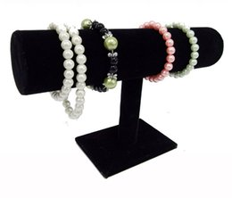 Wholesale T Bar Organizer - Portable Organizer Black Velvet Bracelet Bangle Necklace Chain Watch T-Bar Rack Jewelry Display Stand Holder Rack