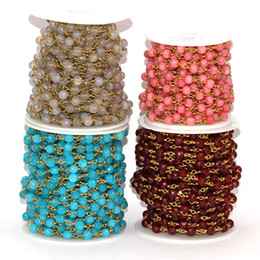 occhio incrociato Sconti 5 corde piccole perle rosario catena filo di rame avvolto catena fai da te per risultati collana agata perle di perline
