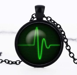 Wholesale Heartbeat Gifts - Heartbeat Necklace glass round dome Heart Pendant jewelry Pendant Art gift for men women Green Black necklaces CN-516