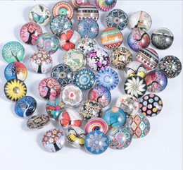 Wholesale Glass Chunks - New 18MM Glass Snap Button Tree of Life Mixed Style Snap Chunk Diy Jewelry Fit Noosa Snap Chunk Button Charm Bracelet
