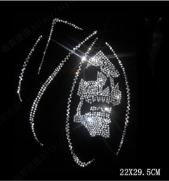 Wholesale Wholesale Rhinestone Heat Transfers - 2017 New Skull 22*29.5cm pattern rhinestone transfer Hot Fix Rhinestones motif Heat Transfer clothing accessories free shipping