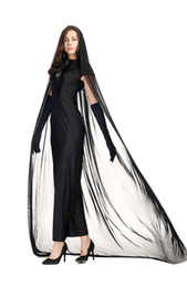 Wholesale Ghost Clubs - New Arrival Adult Black Ghost Costumes Cosplay Halloween Women Long Dress Club Performance Clothing Hot Selling