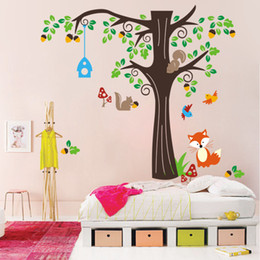 Wholesale Kids Fox Wall Decals - The Home Of Squirrels Wall Stickers for Kids Girls Mushroom Flying Birds Fox Large Tree Infant Nursery Wall Decals Cartoon Animals Wall Art