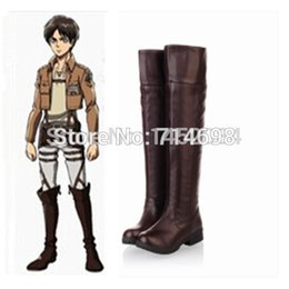 Wholesale Yellow Costume Boots - Wholesale-Attack On Titan Cosplay Eren Ackerman High Boots Shoes