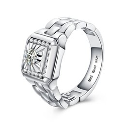 Wholesale Gold Ring Watch For Women - Watch band Silver Ring Synthetic Diamond Silver engagement Ring Wedding Bands Anniversary Ring for Men for Women