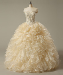 Wholesale Sweet 16 Gowns - 2016 Gorgeous Champagne Quinceanera Dress Ball Gowns Off Shoulder Sweetheart Beads Bodice Ruffle Sweet 16 Party Prom Gowns Real Image