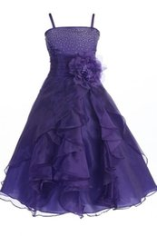 Wholesale Sleeveless Spaghetti Organza - 2017 New Flower Girl Dresses Purple Spagettie Strap Beaded Little Girl Dresses Organza Girls Formal Wear Gowns
