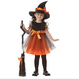 Wholesale Children S Clothes Tutus - Hot Europe Children's Halloween Costume Baby Girls Cosplay Witch Lace Dress with Hat Children Dance performance Clothing