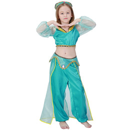 Wholesale Girls Indian Dance Costumes - jasmine cosplay Girls Aladdin's Lamp Jasmine Costumes Cosplay For Children Halloween Party Belly Dance Dress Indian Princess Costume