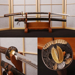 Wholesale Japanese Samurai Swords Katana - wholesale  Brown Japanese Vintage Samurai Sword 1095 Carbon Steel Full Tang Handmade Manganese Unokubitsukuri Blade Sharp Edge Katana