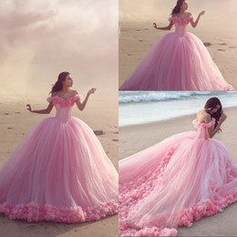 Wholesale Light Blue Long Bridal Dress - 2016 Beautiful Pink Quinceanera Dresses Off the Shoulder Ruched Long Ruffled Prom Dresses Romantic Bridal Gowns